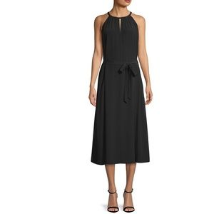 Eileen Fisher Keyhole Halter Black Crepe  Dress
